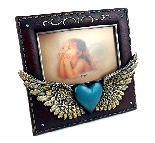 Blue Heart Angel Wing Resin Picture Frame, 6x4