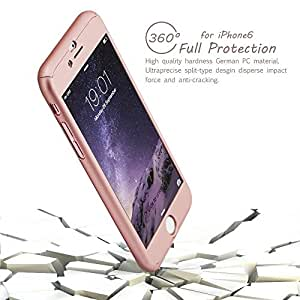 R.I's Rose Gold colour 360 degree full body protector case cover for Iphone 6/6s ( includes front & back cover & screen tempered glass )
