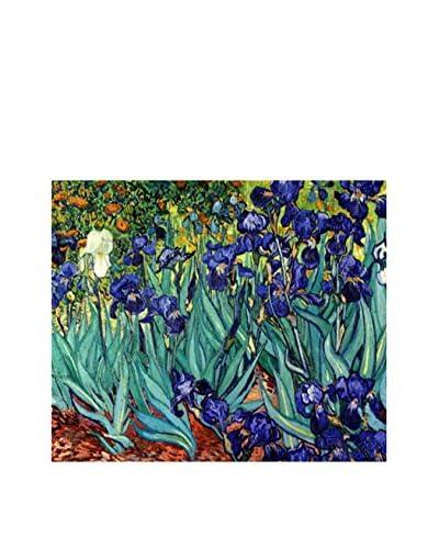 ARTE E TESSUTI by MANIFATTURE COTONIERE Panel Decorativo Van Gogh-Iris Morado/Verde Agua