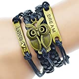 Jiayiqi Vintage Antique Bronze Infinity Love Owl Charms Leather Rope Bracelet Wristband