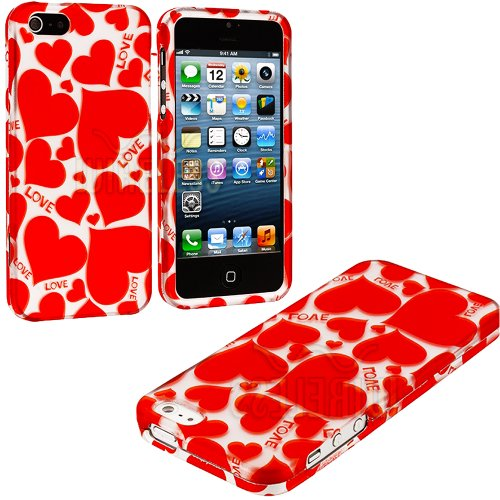 Mylife (Tm) Red Hot Love Series (2 Piece Snap On) Hardshell Plates Case For The Iphone 5/5S (5G) 5Th Generation Touch Phone (Clip Fitted Front And Back Solid Cover Case + Rubberized Tough Armor Skin + Lifetime Warranty + Sealed Inside Mylife Authorized Pa