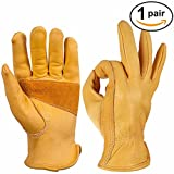 OZERO 1 Pairs Leather Work Gloves Premium Cowhide with Reinforced Patch Palm for Motorcycle (Large)