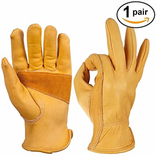 Cowhide Work Gloves, Ozero Grain Leather Glove for Motorcycle, Driving, Yard, Gardening - Perfect Fit - Good Grip Palm Padding - Elastic Wrist - 1 pair (Large) (Refrigerator Mid Size compare prices)