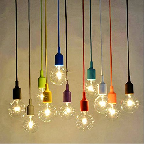 Socket Pendant Light, Ablevel E26 E27 Socket Base Silicon Pendant Hanging Lamp Holder With Wire, 3.3ft Colorful Designer Rope Cord 8 Pack (No Bulb)