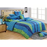 Swayam Shades Of Paradise Printed Cotton Fitted Bedsheet With 2 Pillow Covers - Blue (KFT-1302 )