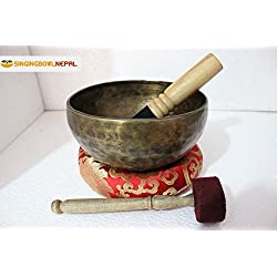 The Heart and High Heart Chakra F Note Auntic Hand Hammered Tibetan Meditation Singing Bowl 8 Inches - Yoga Old Bowl By Singing Nepal