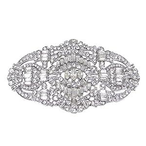 EVER FAITH Wedding Art Deco Buckle Brooch Clear Austrian Crystal Silver-tone