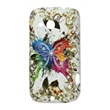 "iProtect Premium Cover / Case / H�lle / Schutz f�r HTC Desire C A320e im gummierten Hard Case in der ""Crazy Butterfly Edition"" Wei� / Blau / Orange / Gr�n / Lilavon ""iProtect"""