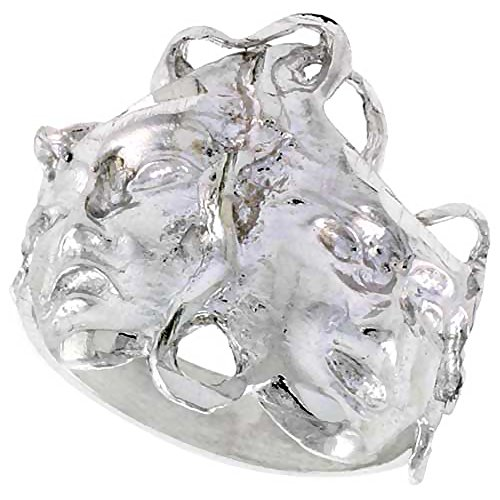 Sterling Silver Drama Masks Ring Polished finish 11/16 inch wide, size 9 (Smile Now Cry Later Ring compare prices)