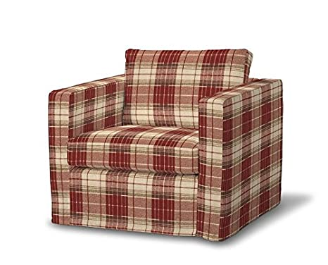 FRANC-TEXTIL 620-142-06 Karstad sillón funda de largo, funda sillón, Karlstad sillón, Mirella, burdeos/marrón