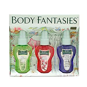 Body Fantasies By Parfums De Coeur For Woman. Gift Set ( Fragrance Body Spray 1.7 Oz Of Pear Fantasy + Cherry Blossom Fantasy + Clean Lavender Vanilla Fantasy )