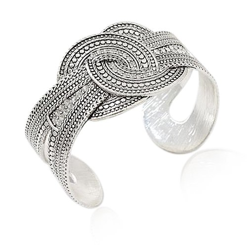 Silvertone Circle Detailed Theme Cuff Bracelet Fashion Jewelry