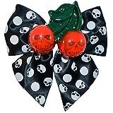 Kreepsville 666 Cherry Skull Hair Bow White