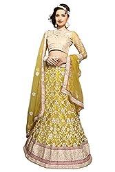 Manvaa Women Net Lehenga Choli(Yellow_ASKLY61D_Free Size)