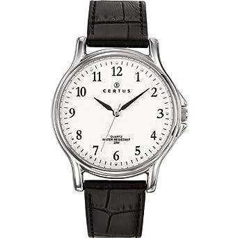 4dfbc70806 Certus - 610695 - Montre Homme - Quartz Analogique - Cadran Blanc - Bracelet  Cuir Noir