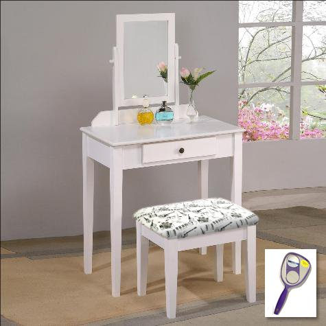 New White Finish Make Up Vanity Table with Mirror & Muscial Instruments Themed Bench