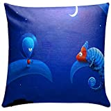 Royalina Cartoon Kids Fun Loving Digital Printed Cushion Cover-16inch X 16inch