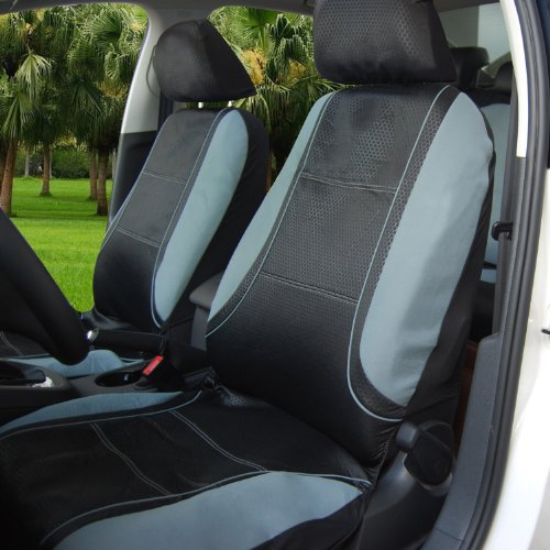 Adeco Set of 4-Piece Car Vehicle Front Seat Covers, Universal Fit, Black and Gray, Interior Decor autoyouth hot sale front car seat covers universal fit tire track detail vehicle design seat protective interior accessories