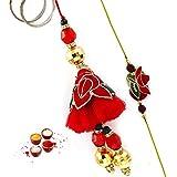 Beautiful Floral Design Red & Green Zardosi Work Bhaiya Bhabhi Rakhi Set
