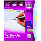 Avery  Translucent Durable Write-On Plastic Dividers, 8-Tab Set (16171)