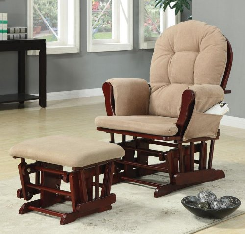Coaster Glider Rocker And Ottoman With Beige Upholstery front-202192