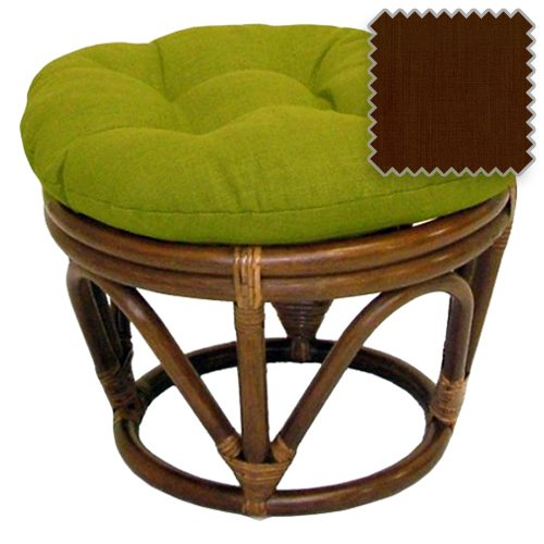 Rattan Ottoman with Outdoor Fabric Cushion