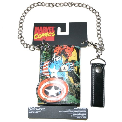 : Marvel Comics Captain America Tri-fold Full Color Comic Strip Men's Wallet with Chain