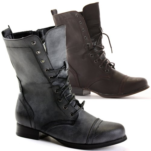 Innovative New Women39s Knee High Lace Up Buckle Combat Military Boots Timberly65