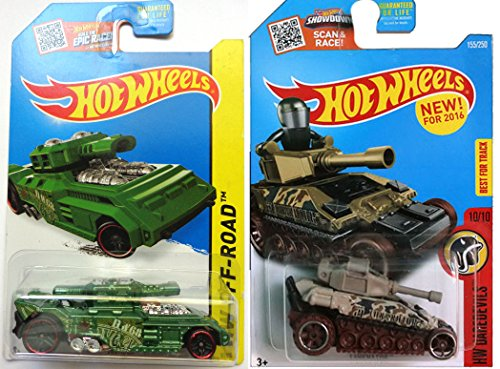 Tank Military set Hot Wheels Tanknator & Invader Tank Off Road Daredevils New Model set in PROTECTIVE CASES (Hot Wheel Tank compare prices)