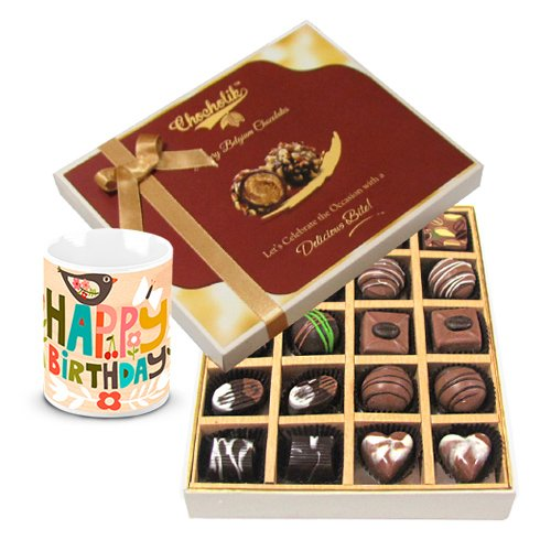 Classic Collection Of Dark And Milk Chocolate Box With Birthday Mug - Chocholik Belgium Chocolates
