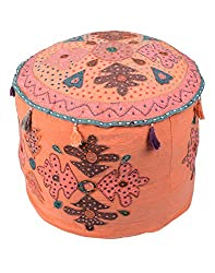 Exclusive Ottoman Peach Cotton Floral Patch Work Pouf Cover By Rajrang