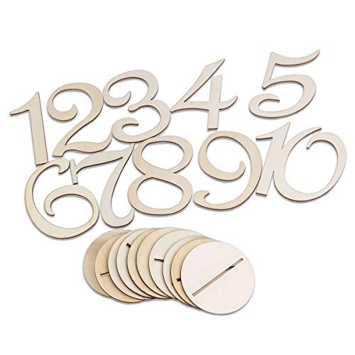 FENICAL Wooden Table 1-10 Numbers with Holder Base for Wedding Birthday Party Decoration 10pcs (Wooden Numbers compare prices)