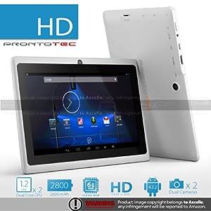 """ProntoTec Axius Series 7"""" Android 4.2 Tablet PC,HD 1024 x 600 Pixels,Cortex A8 Dual Core Processor, 512MB/6GB, Dual Camera, HDMI, G-Sensor, Google Play Pre-load - white"""