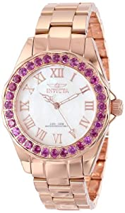 Invicta Women's 14153 Angel Mother-Of-Pearl Dial Rhodolite Garnet Accented 18k Rose Gold Ion-Plated Stainless Steel Watch