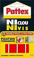 """Pattex Adhésifs 10 Pastilles Fixation definitive double face """"Ni clou ni vis"""" Ultra fort 20mm x 40 mm"""
