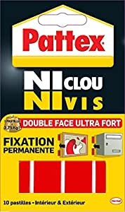 "Pattex Adhésifs 10 Pastilles Fixation definitive double face ""Ni clou ni vis"" Ultra fort 20mm x 40 mm"