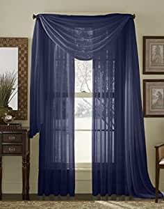 blue 216 quot sheer window scarf home kitchen