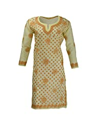 Lucknow Chikan Industry Women's Cotton Straight Kurti (Yellow , 42 Inches)