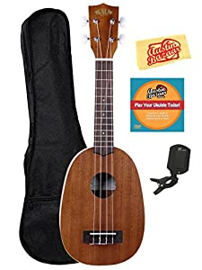 Kala KA-P Mahogany Pineapple Soprano Ukulele Bundle with Gearlux Gig Bag, Austin Bazaar Instructional DVD, Clip-On Tuner, and Polishing Cloth
