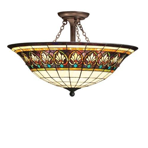 Kichler Lighting 69050 4-Light Provencia Art Glass Semi-Flush Ceiling Light, Art Nouveau Bronze Finish