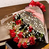 翌日配達お花屋さん 情熱の赤バラの花束であの人へ熱い想いを伝えます。【送料無料】LOVE ROSE(お祝い用赤バラとかすみ草の花束)誕生日・記念日・お祝い・結婚祝い・お見舞い・歓送迎会・結婚祝いお礼の花の配達 正午までのご注文は翌日配達【配達日指定不可】