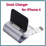 Grey Aluminum Desk Dock Cradle Station Stand Charger + USB sync Cable for iPhone 4S 4