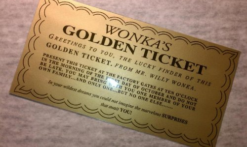 LAMINATED WILLY WONKA GOLDEN TICKET ~ 6 1/4 x3 1/4-WOW LOOK! (Golden Ticket compare prices)