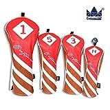 CRAFTSMAN(クラフツマン)ゴルフヘッドカバー ウッドカバー レザー製 目立つ赤 三片式設計 レッド (3+UT)
