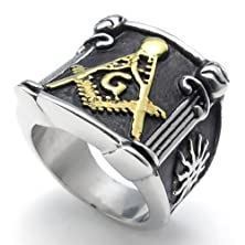 buy Konov Embossed Freemason Masonic 316L Stainless Steel Band Enamel Mens Ring- Size 12