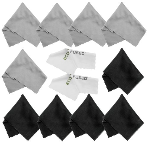 Microfiber Cleaning Cloths – 10 Colorful Cloths and 2 White ECO-FUSED Cloths – Ideal for Cleaning Glasses, Spectacles, Camera Lenses, iPad, Tablets, Phones, iPhone, Android Phones, LCD Screens and Other Delicate Surfaces (Black/Grey)