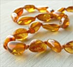 Cognac Colour Amber Necklace Bean Sha...