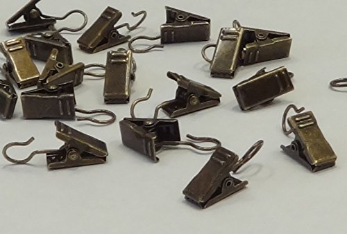 20 QTY: Antique Bronze Drapery Ring Clips for all Drapery Rings by Amazing Drapery Hardware