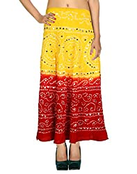 Classic Casual Skirt Cotton Yellow Ethnic Tie Dye For Women By Rajrang