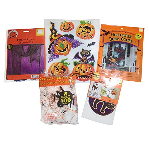 Halloween Decorations - Creepy Cloth and Halloween Spider Web with Halloween Window Clings , Swirl Decoration , and Door Cover in Assorted (Dance Costume Suppliers Uk)
